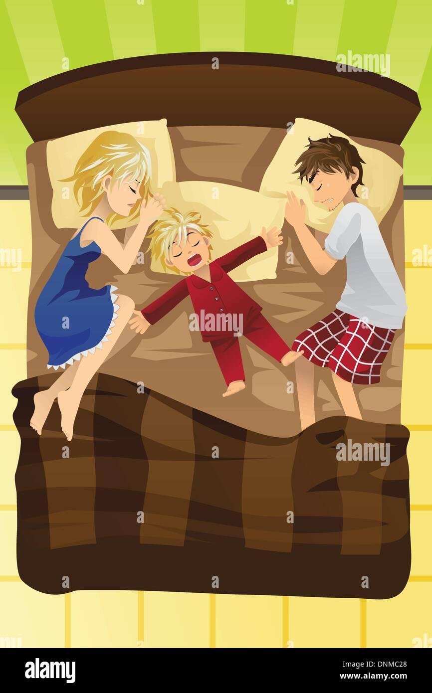 Un vecteur illustration de parents avec de jeunes enfants à dormir dans le même lit Photo Stock