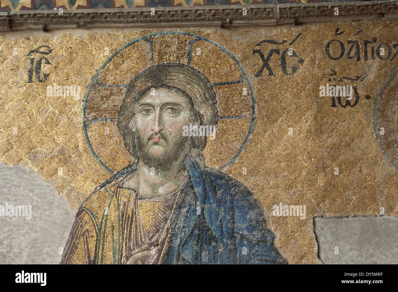 Mosaïque byzantine de Jésus dans la basilique Sainte-Sophie, Istanbul. Photo Stock