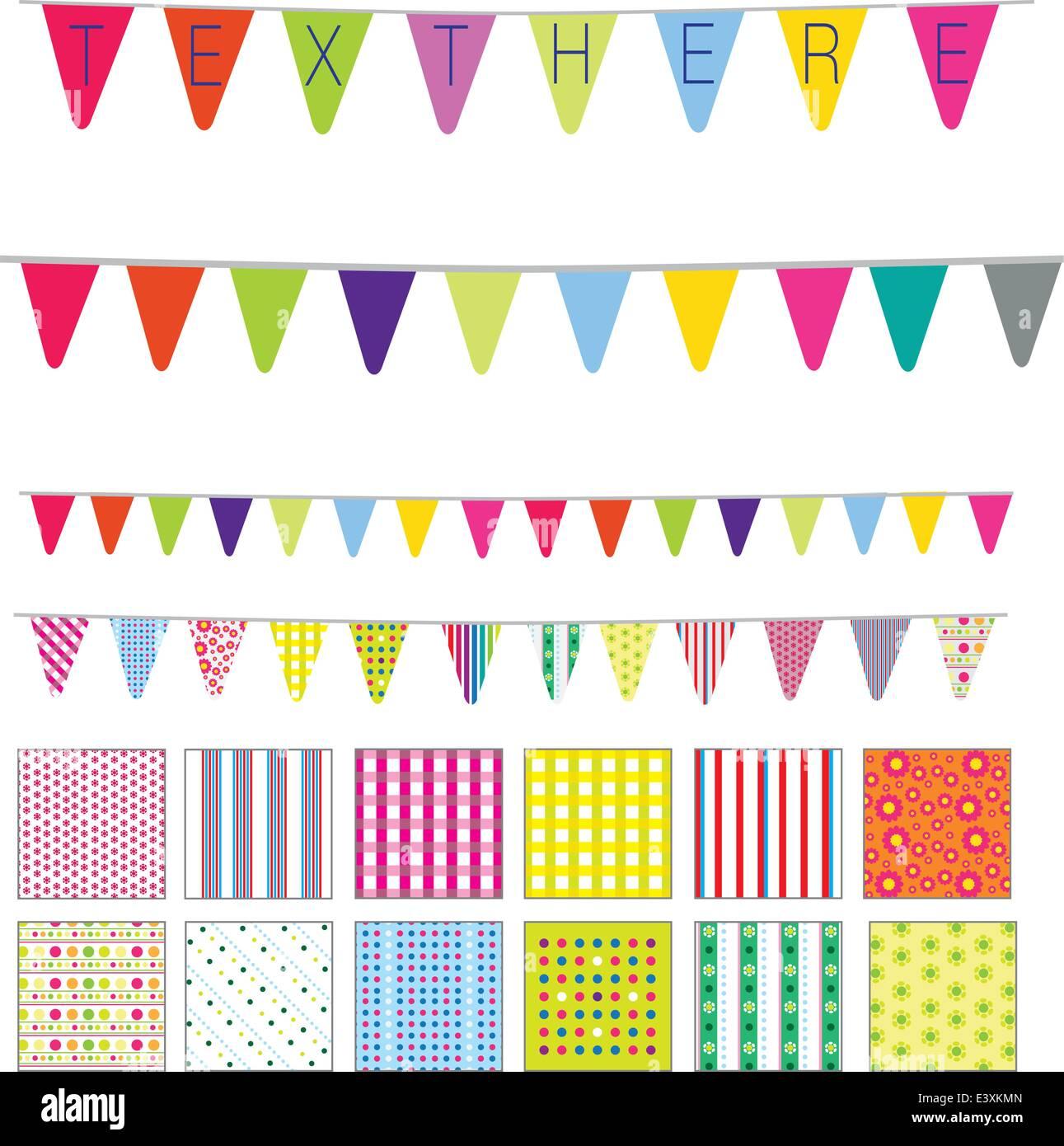 Les régularités et des bannières dans un style rétro mignon, taches, rayures et motifs fleurs Photo Stock