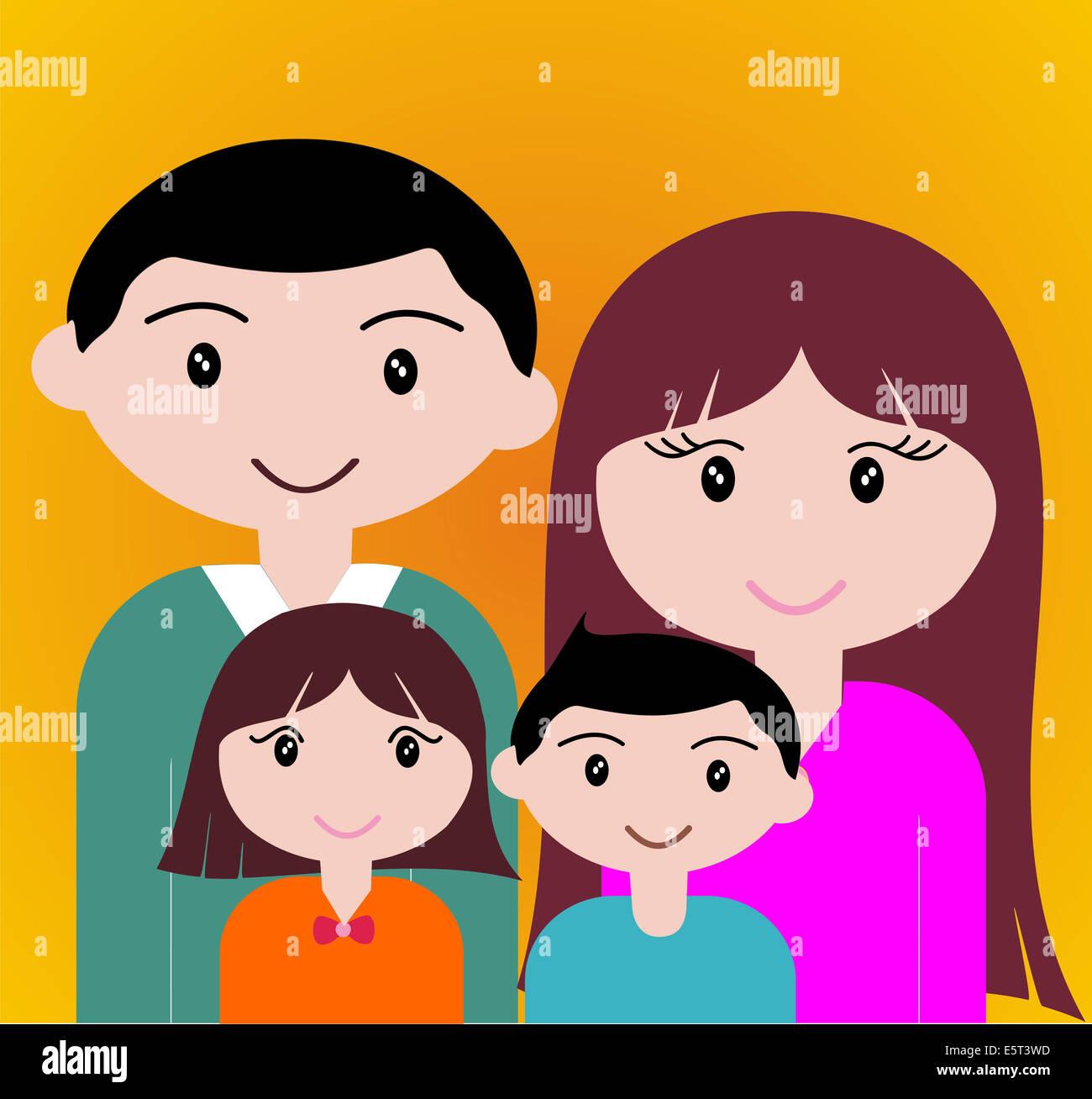 Quatre États de portrait de famille heureux ensemble. Photo Stock