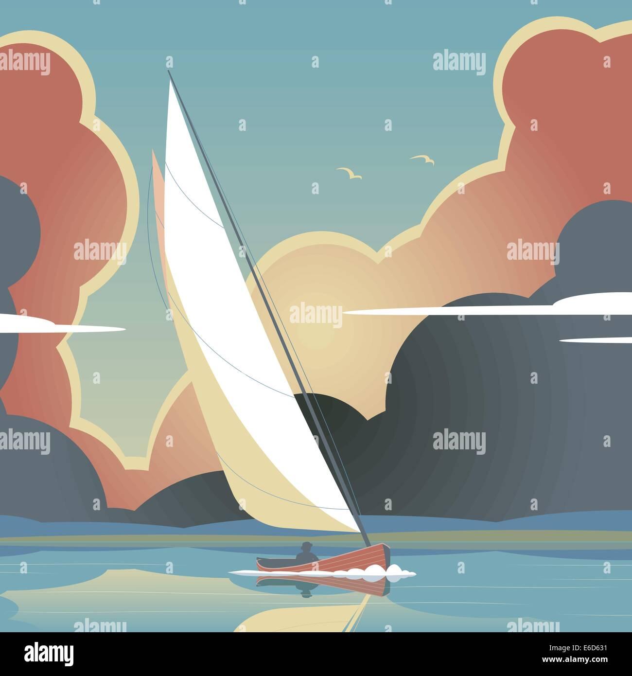 Illustration vectorielle modifiable d'un homme d'un yacht à voile sur l'eau calme Photo Stock