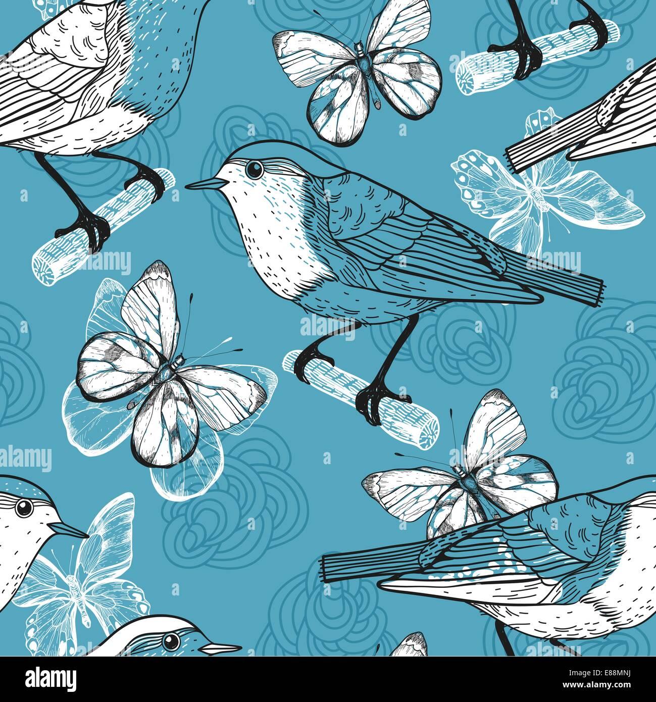Motif transparent vecteur d'oiseaux et de papillons Photo Stock