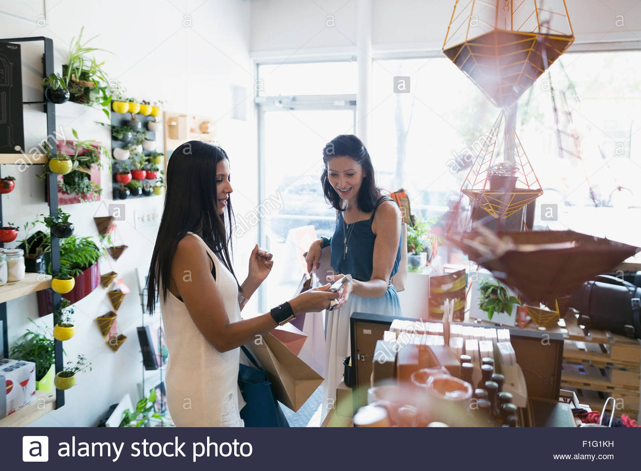 Women shopping in housewares shop Photo Stock