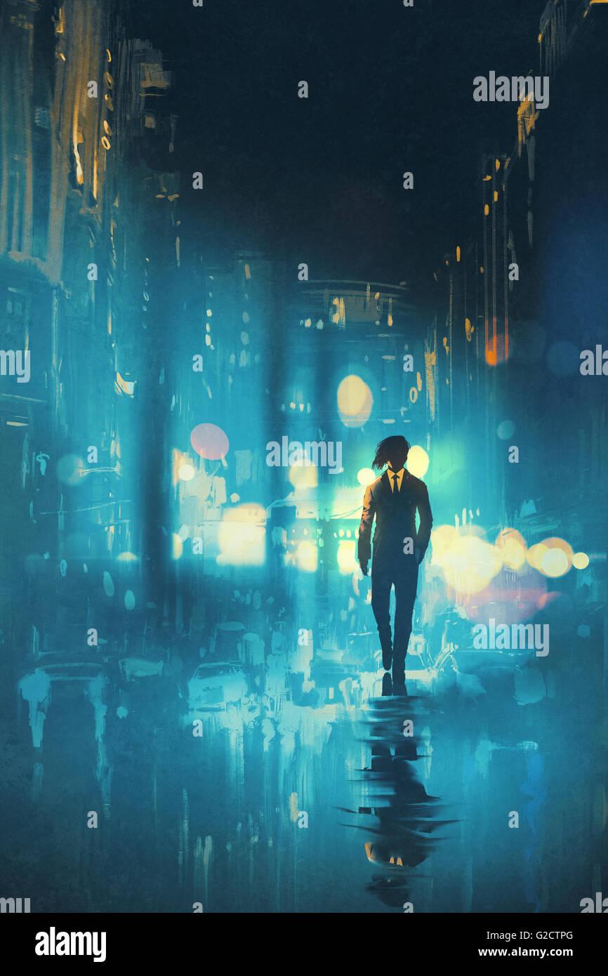 Homme marchant dans la nuit sur la rue humide,illustration Photo Stock
