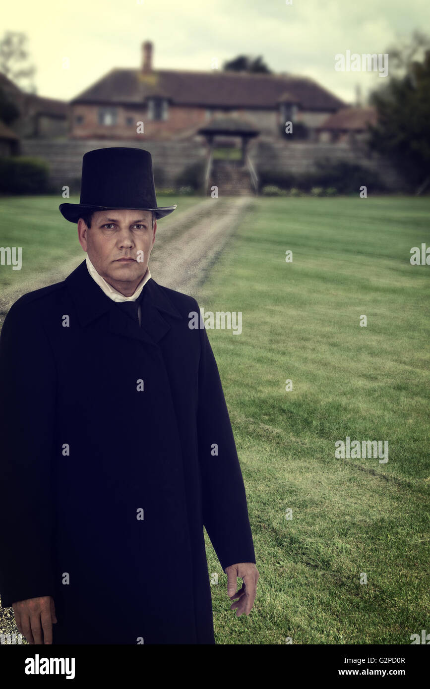1800 man with Manor House Photo Stock