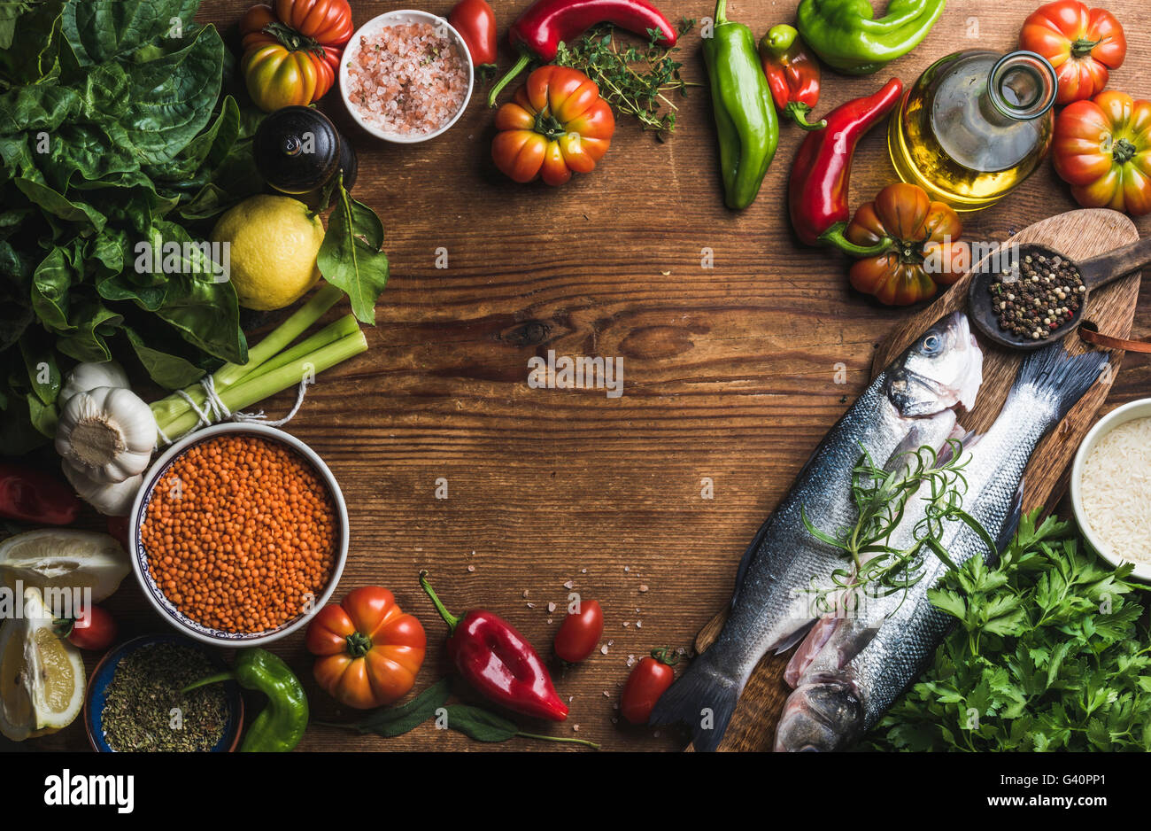 Ingredients photos ingredients images alamy Cuisiner le bar