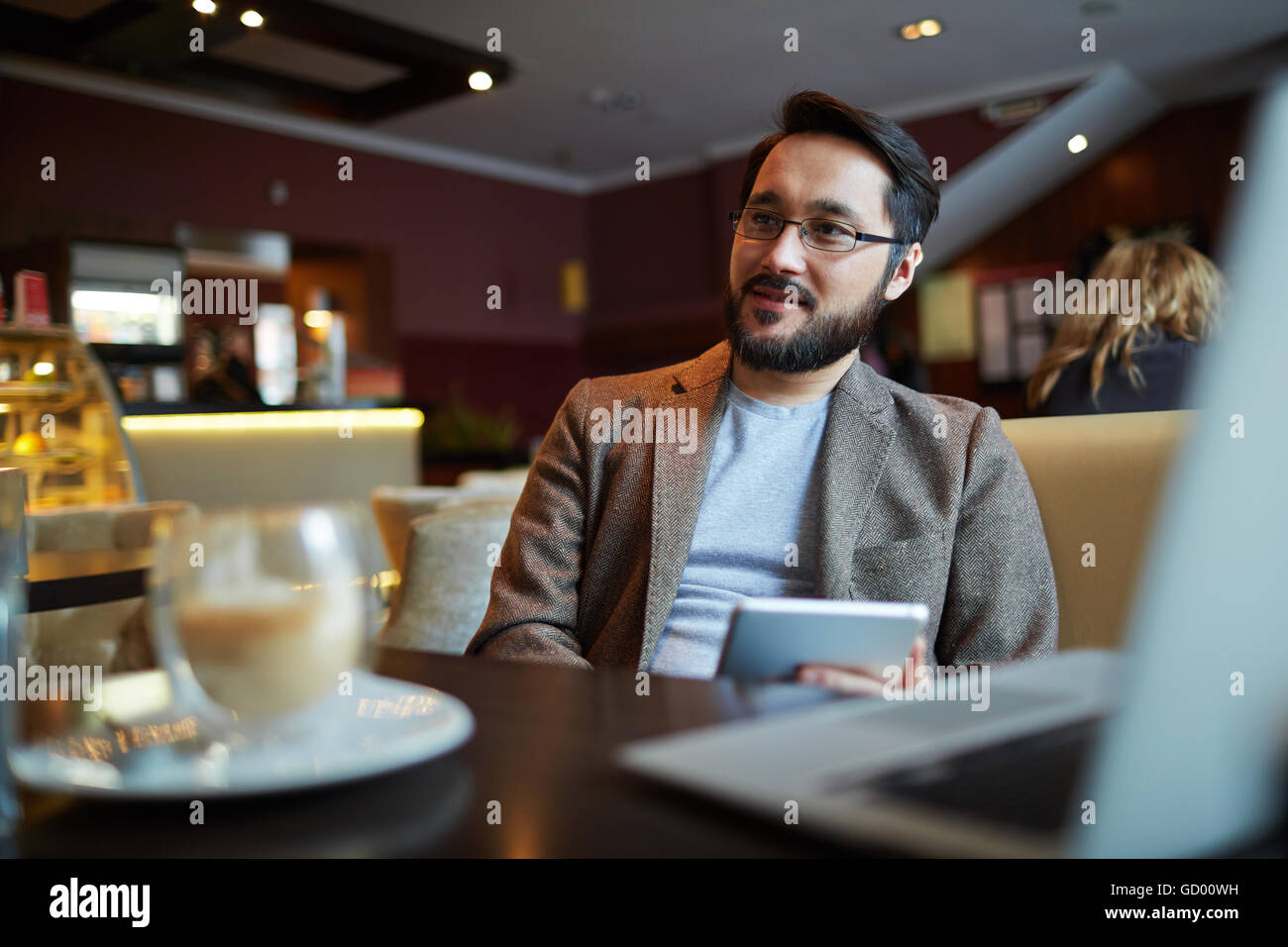 Homme au café Photo Stock