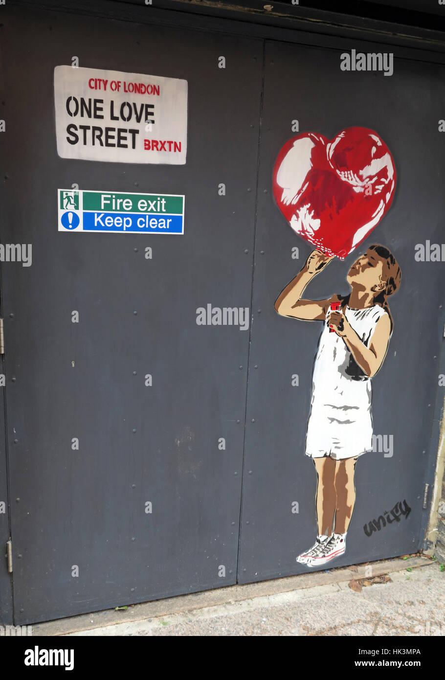 Brixton,England,UK,Bellefields,Road,city,centre,One,love,luv,street,BRXTN,girl,baloon,artwork,art,work,door,fire,exit,city,of,London,Bellefields