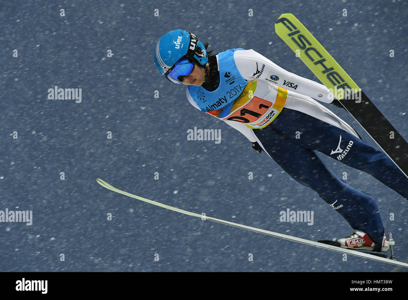 Sunkar Saut à ski international complexe, Almaty, Kazakhstan. Feb, 2017 4. Jun Maruyama (JPN), 4 février Photo Stock