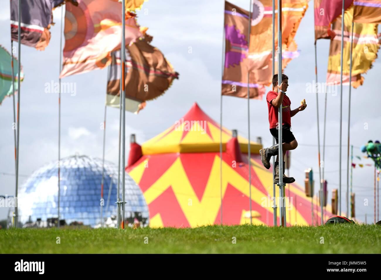 Dorset, UK. 27 juillet, 2017. Camp Bestival ouvre, Dorset, UK Crédit: Finnbarr Webster/Alamy Live News Photo Stock