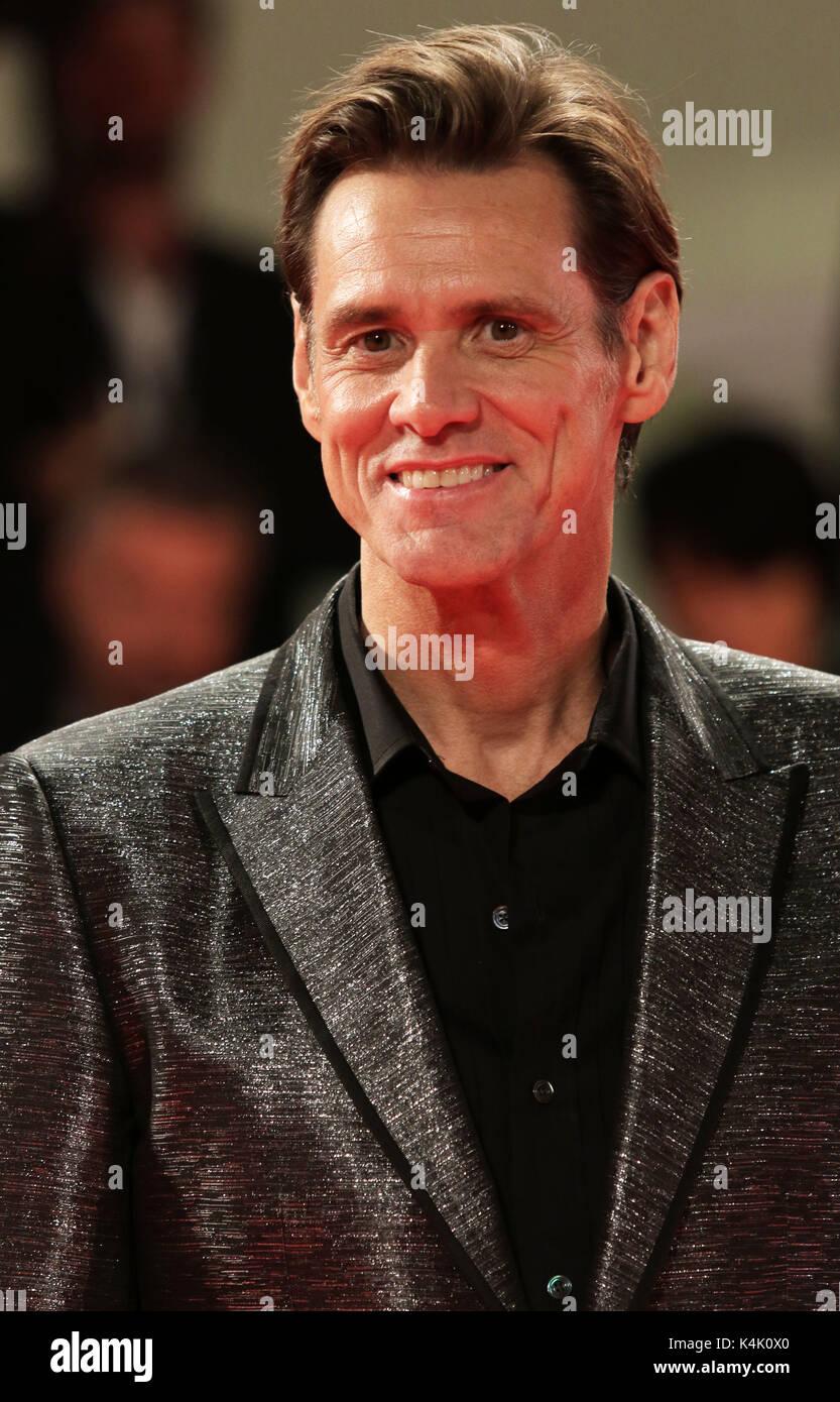 L'Europe, Italie, Lido di Venezia, 05 septembre, 2017: l'acteur Jim Carrey au tapis rouge du film Photo Stock