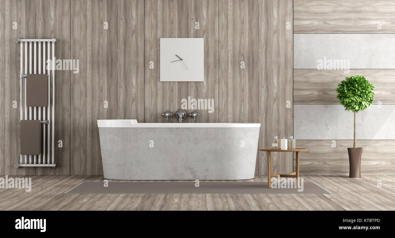 Salle de bains en b ton et en bois banque d 39 images photo for Salle de bain bois et beton