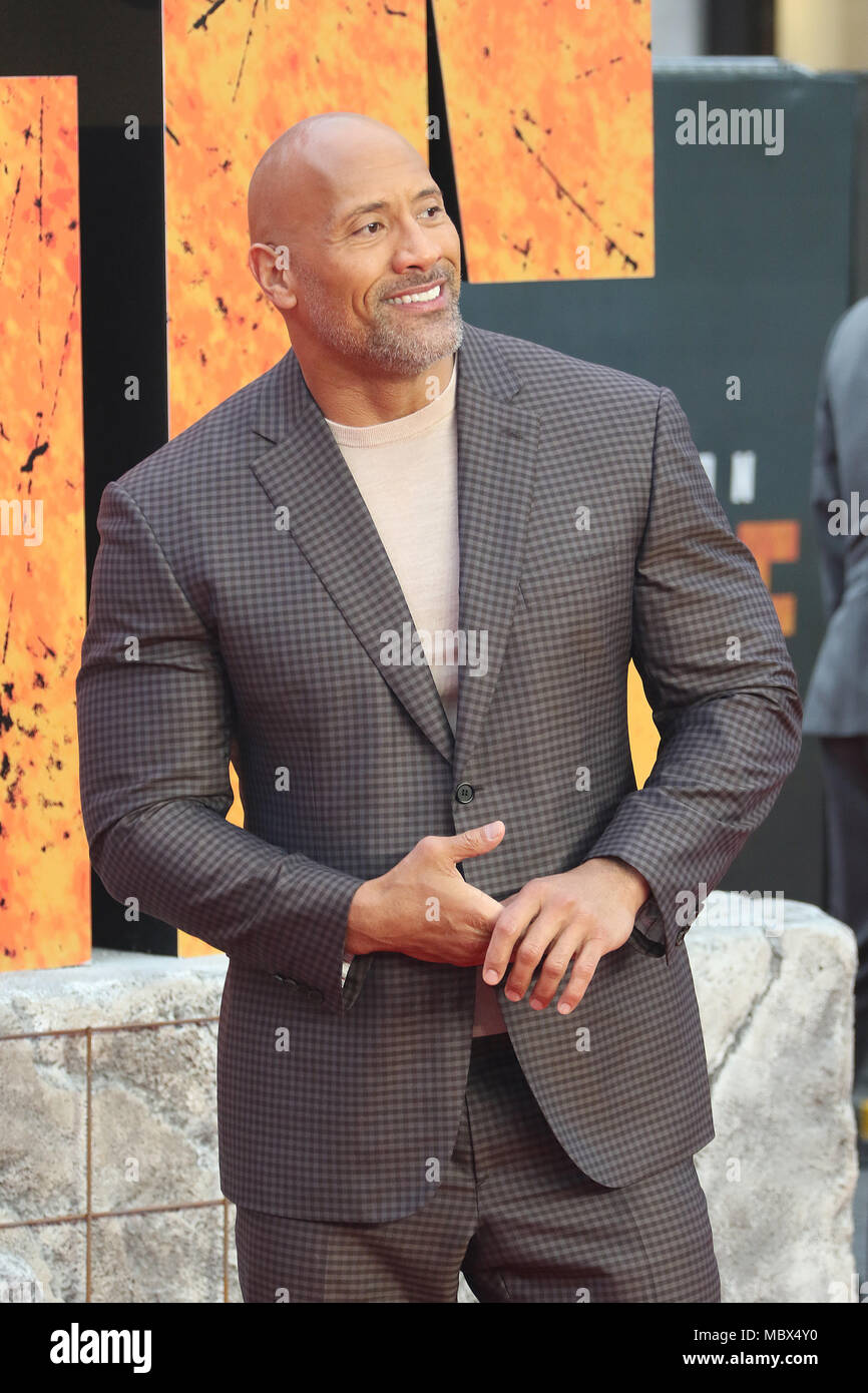 Londres, Royaume-Uni. 11 avril, 2018. Dwayne Johnson, Rampage - première européenne, Leicester Square, Londres, Royaume-Uni, 11 avril 2018, photo de Richard Goldschmidt : Riche de crédit Gold/Alamy Live News Banque D'Images