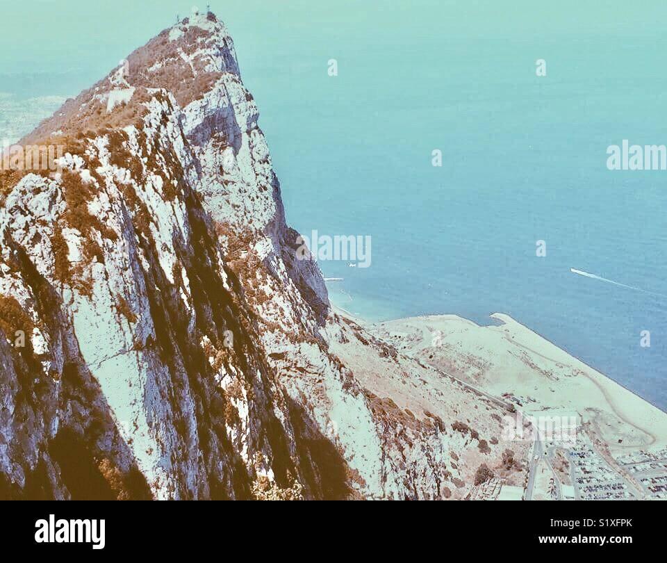 En plus de le Rocher de Gibraltar. Quelle vue! Beau bleu de l'eau. Photo Stock