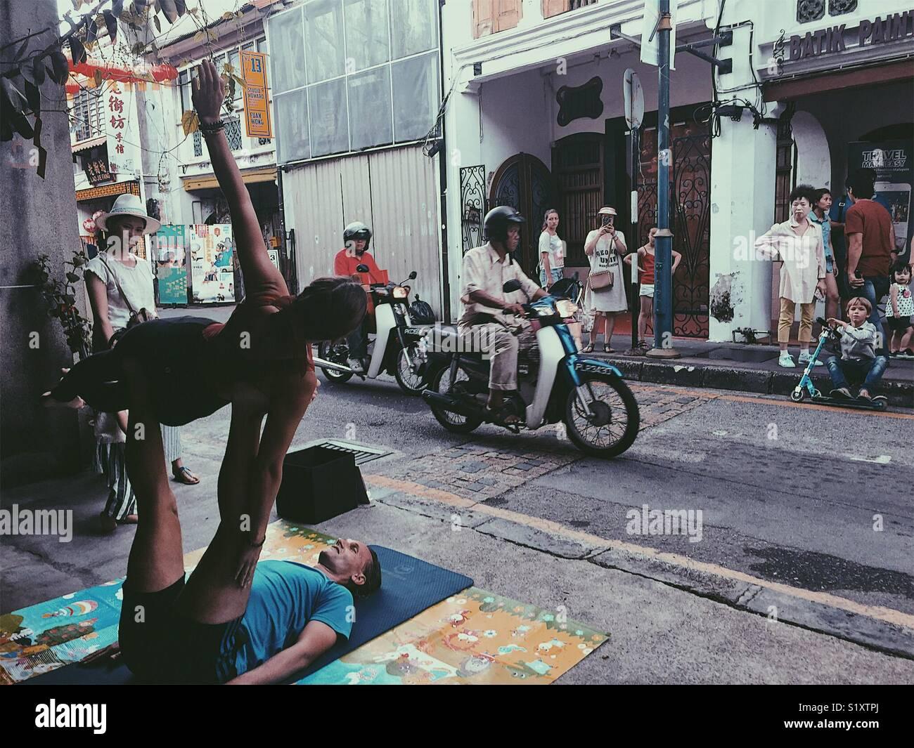La rue en arménien Street, George Town, Malaisie Photo Stock