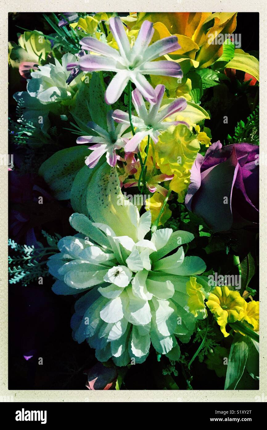 Arrangement de fleurs colorées dans un cimetière. Photo Stock