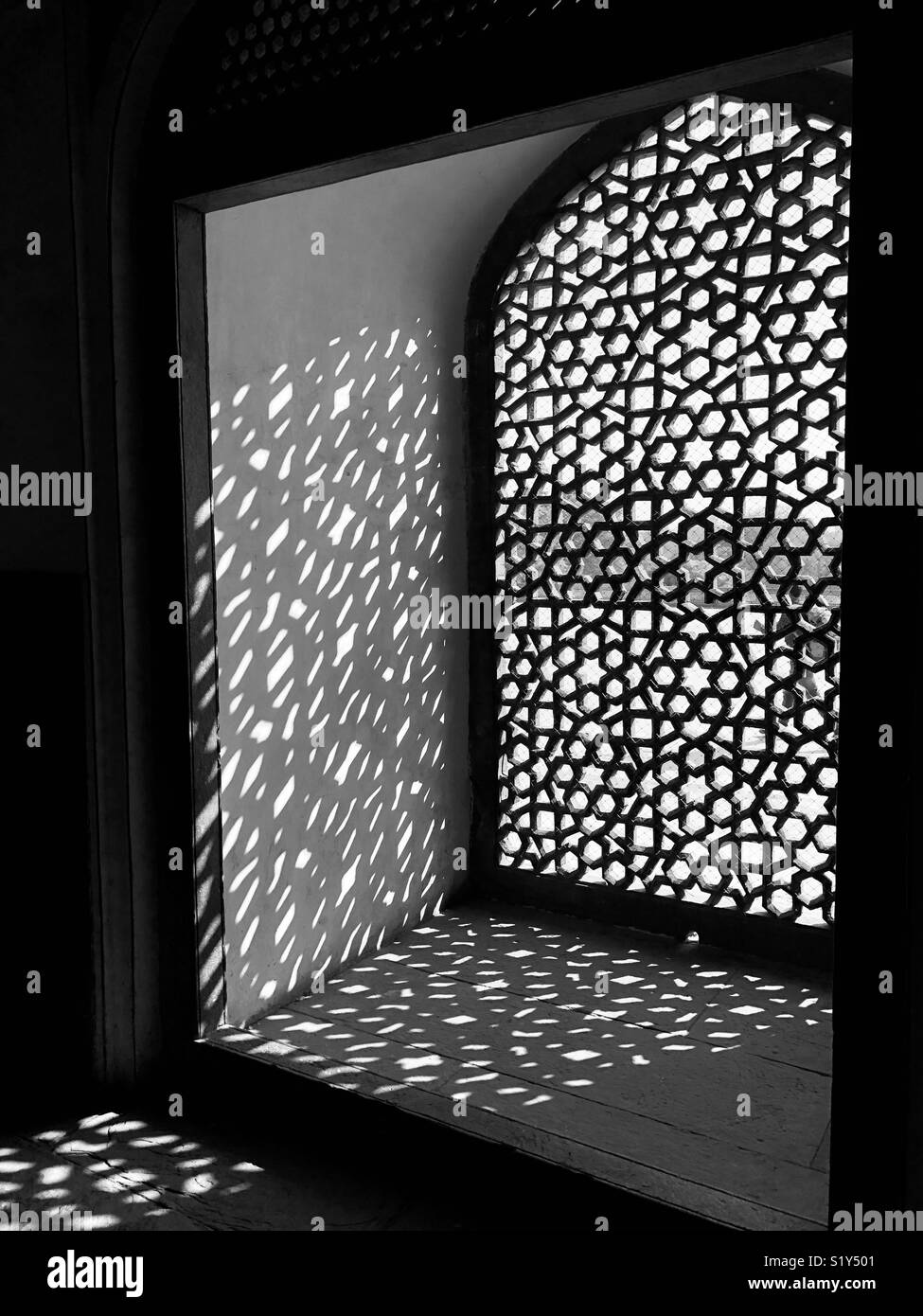Treillis de fenêtre Tombe de Humayun,il a été construit en 1569-70, New Delhi, Inde Photo Stock