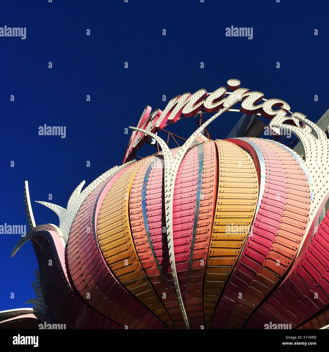 Célèbre signe de l'hôtel Flamingo de Las Vegas, Nevada Photo Stock