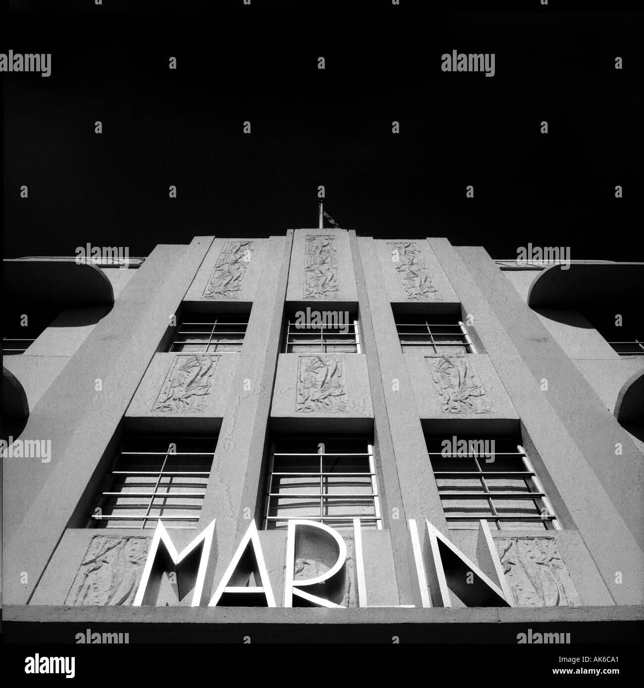 La facciata della Marlin hotel in Miami s South Beach Art Deco District Immagini Stock