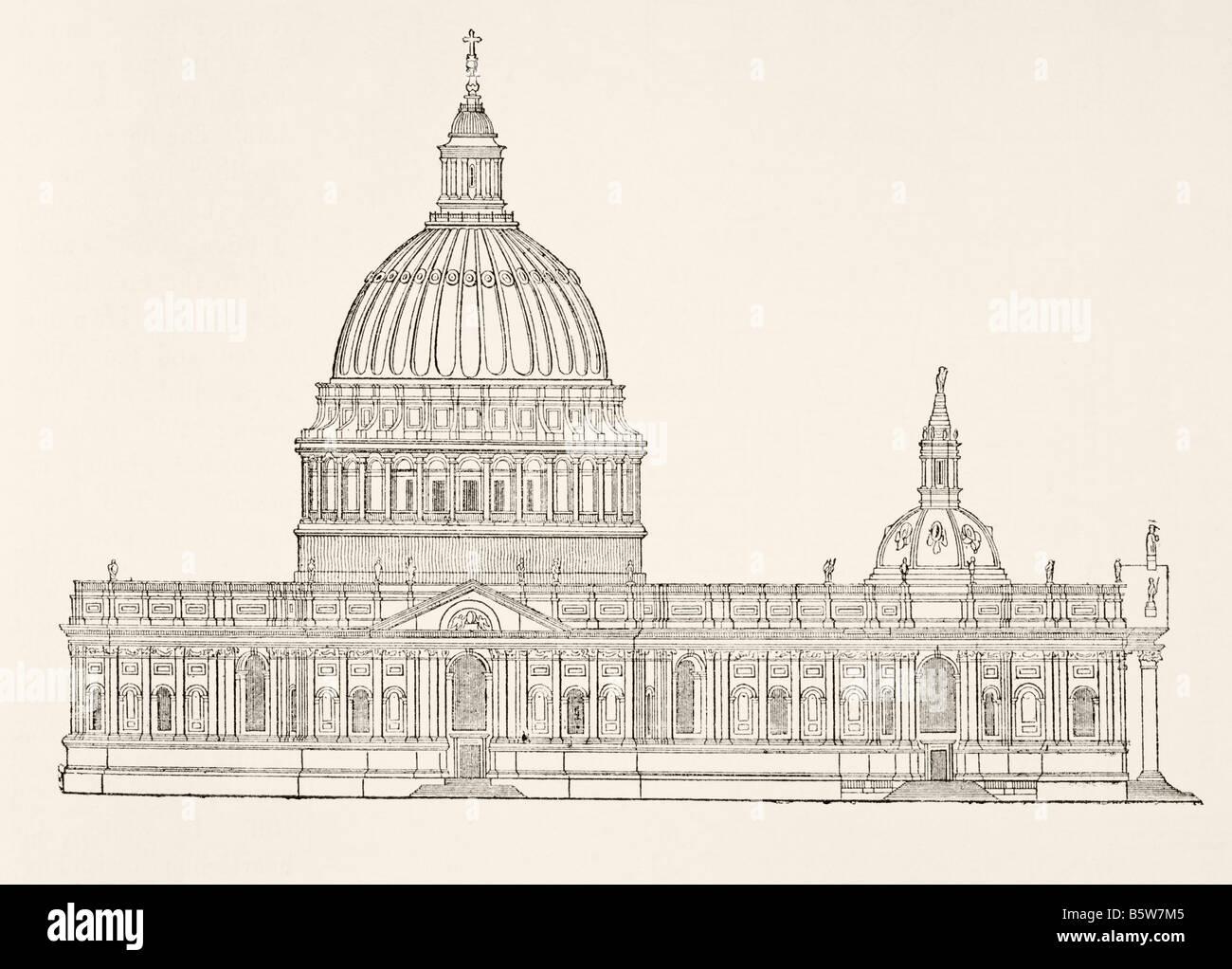 Christopher Wren s prima di design per la nuova St Paul s Cathedral dopo il Grande Incendio di Londra Immagini Stock