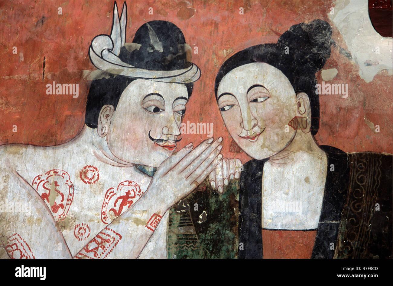 Gli amanti della Thai di seduzione, c xix secolo o murale dipinto a parete Thit Buaphan, Wat Phumin tempio, Nan, Immagini Stock