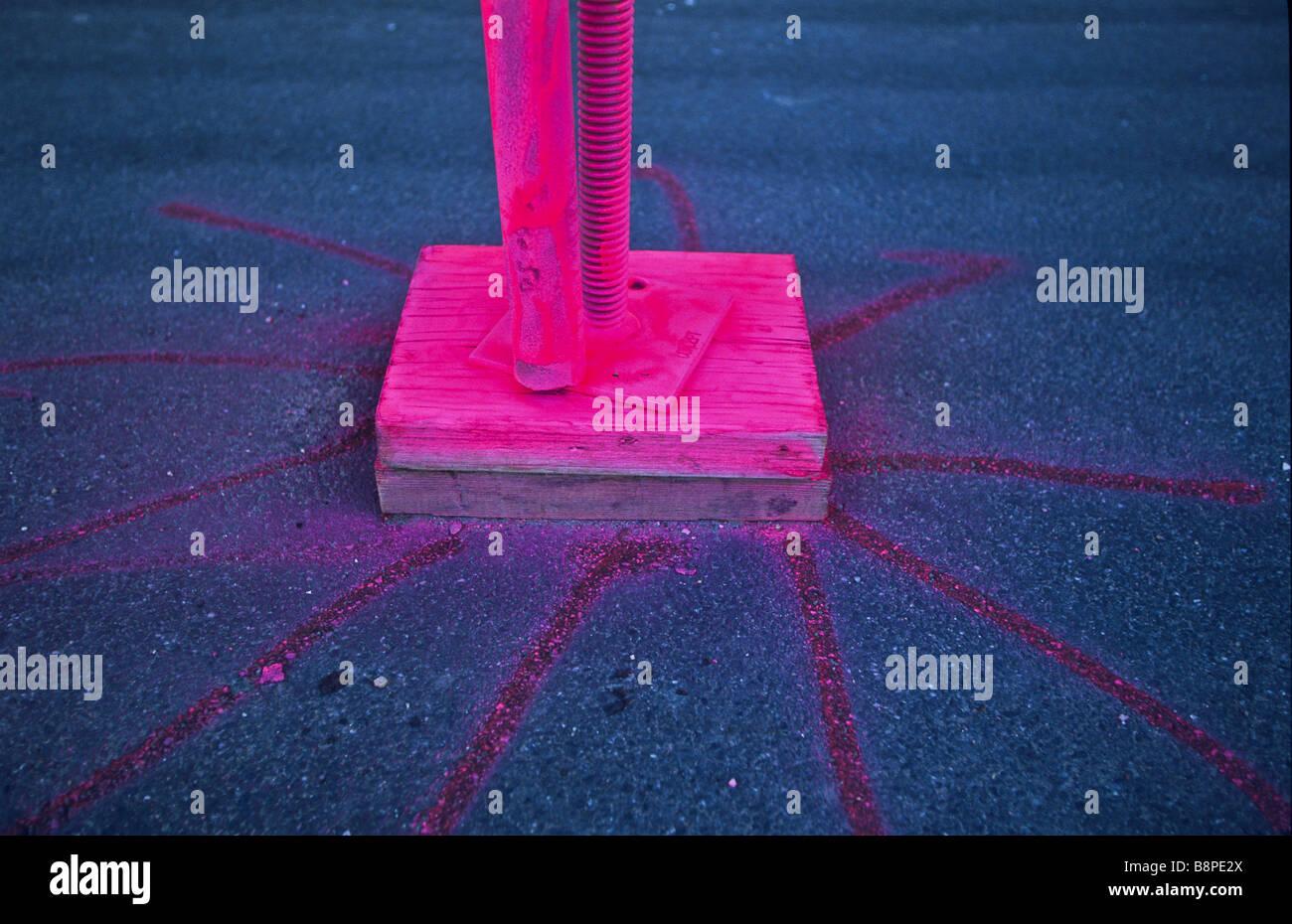 Rosa vernice fluorescente Immagini Stock