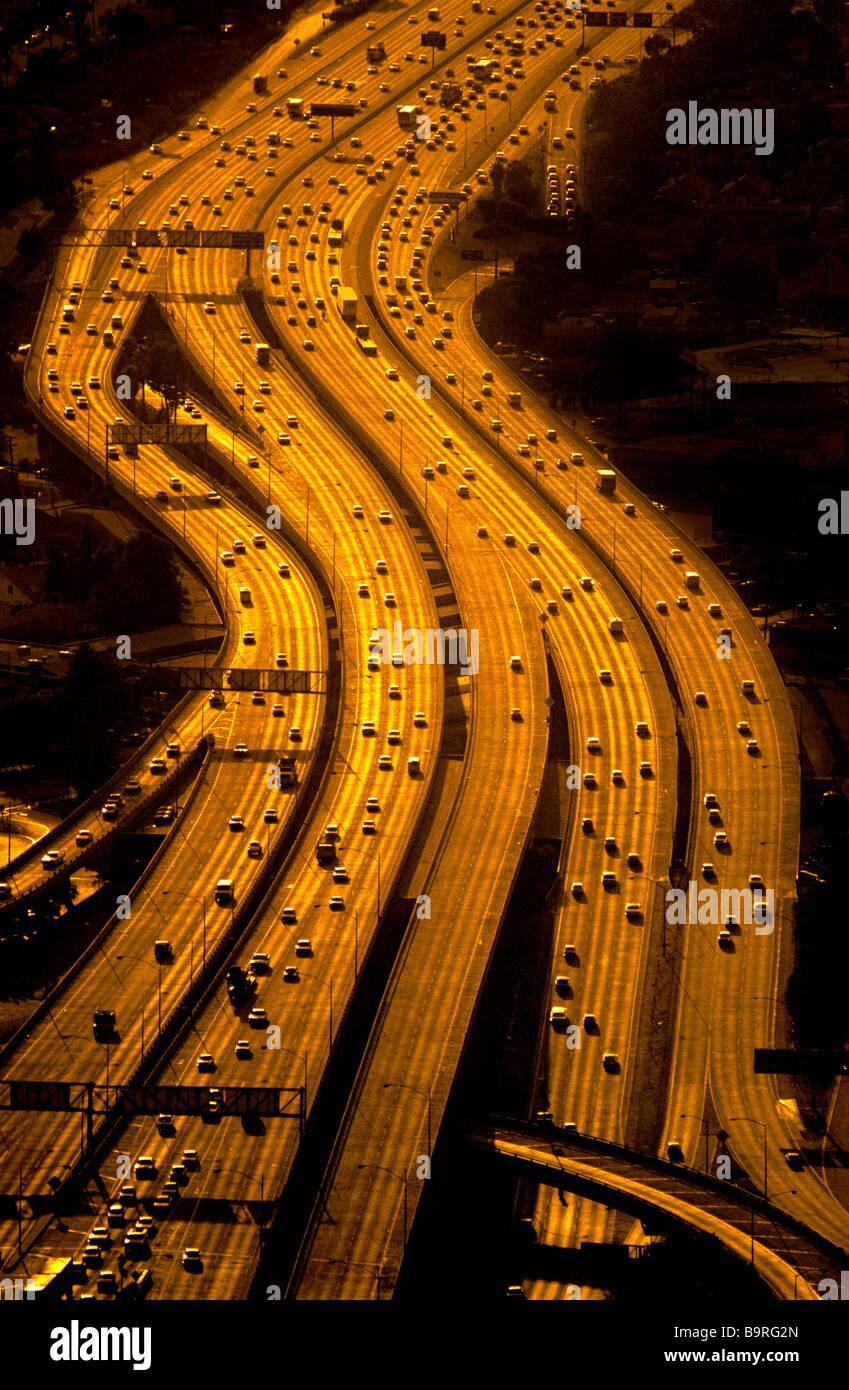 Vista aerea di superstrade, Los Angeles, California. Immagini Stock