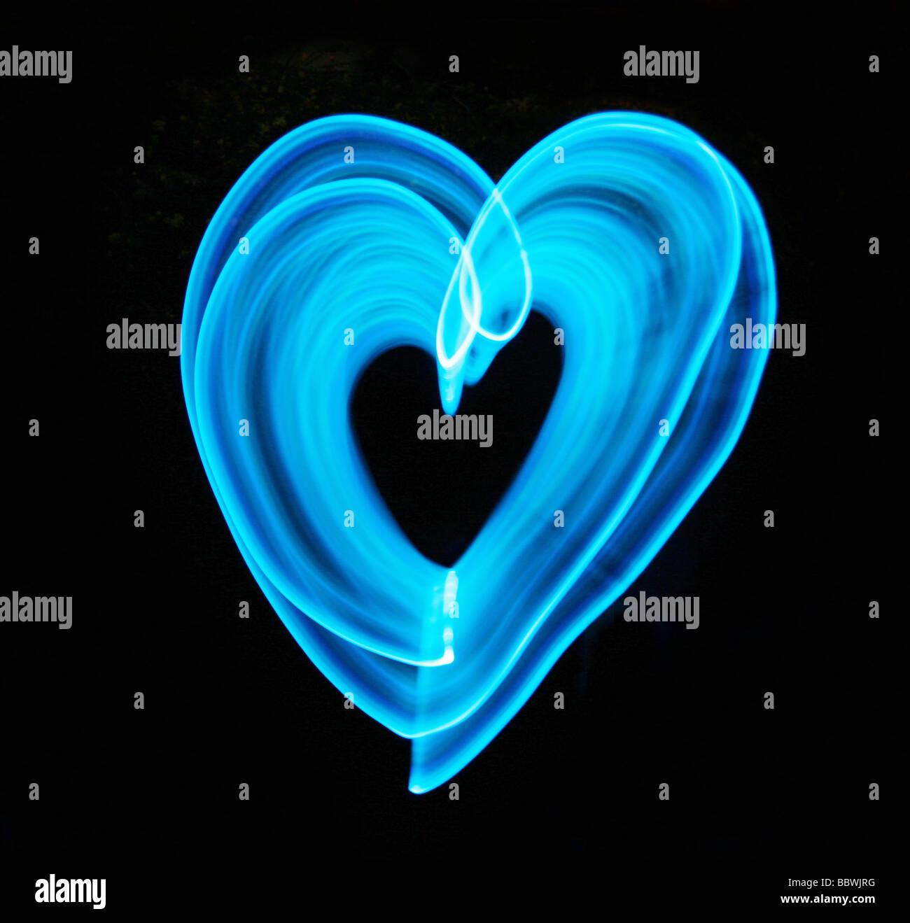 La luce blu cuore Immagini Stock