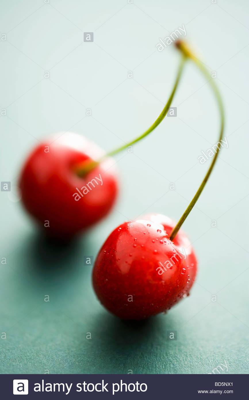 Una coppia di ciliegie Immagini Stock