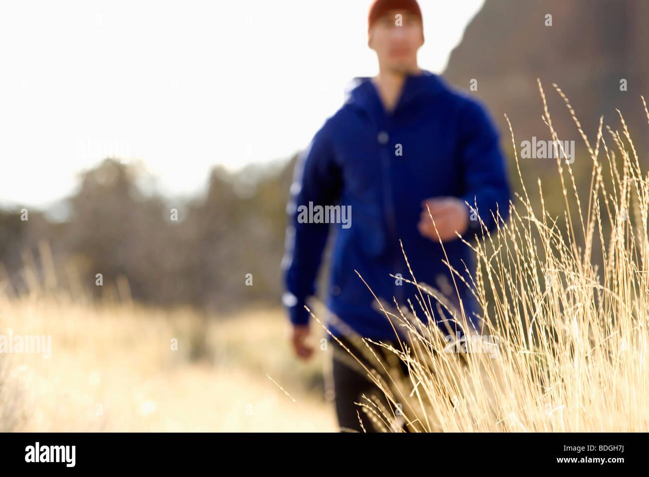 Un uomo in una giacca blu passeggiate lungo un sentiero in Oregon, mentre il giallo erba onde la brezza. (Fuoco Immagini Stock