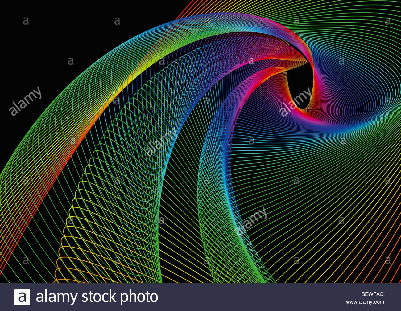 Arcobaleno di vorticazione linee colorate Immagini Stock