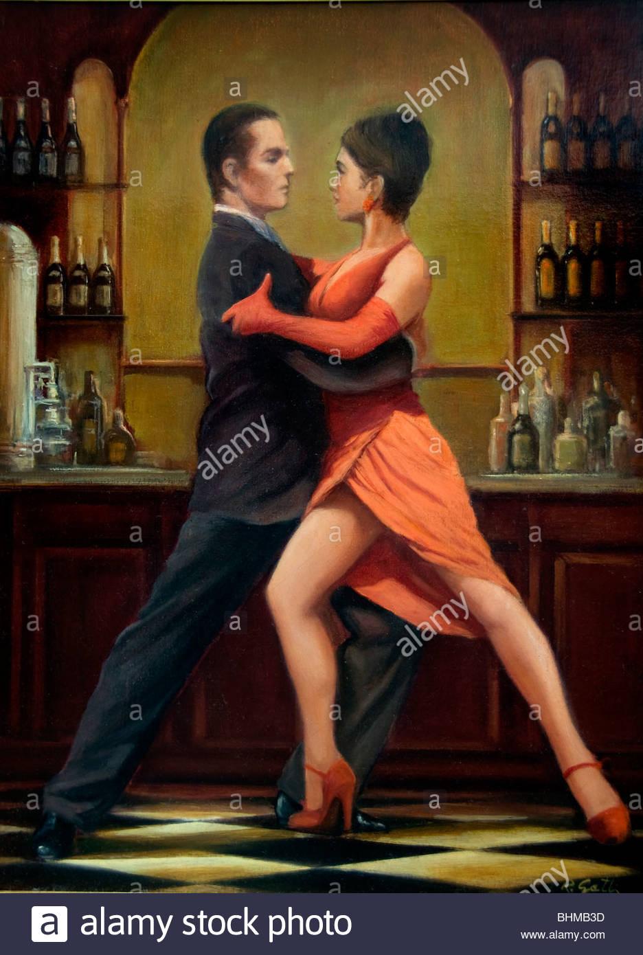 Tango Buenos Aires Argentina La Boca El Caminito segno Street Painting Immagini Stock