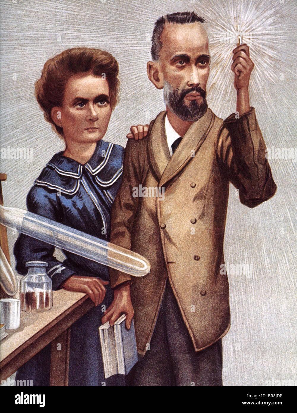 Le borse Marie Curie fisico francese e il marito Pierre in un 1904 illustrazione che mostra inesattamente i raggi Immagini Stock