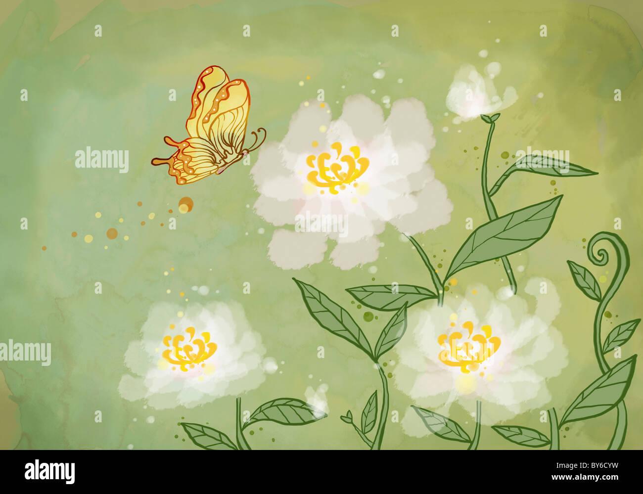 Capodanno Saluto illustrazione in atmosfera orientale Foto Stock