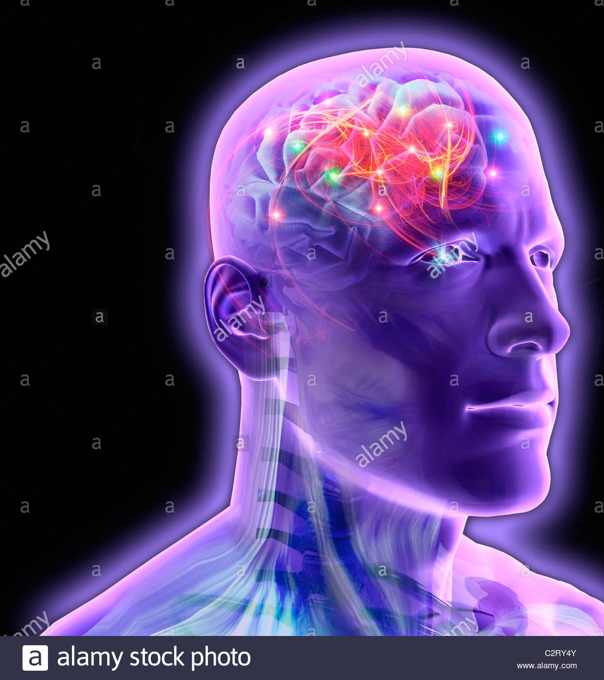 Uomo trasparente del cervello incandescente e frizzante Immagini Stock