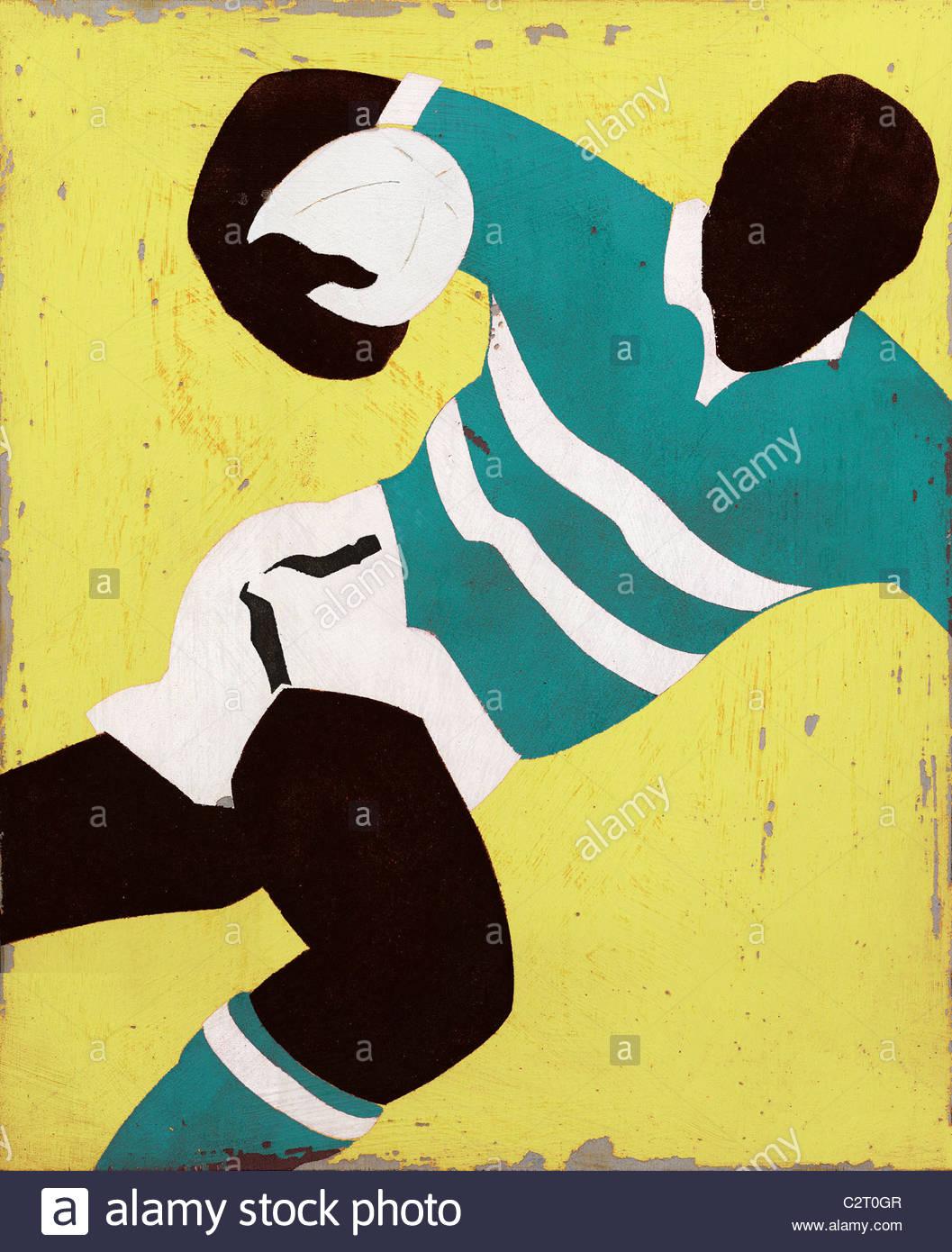 Giocatore di rugby in esecuzione con sfera Foto Stock