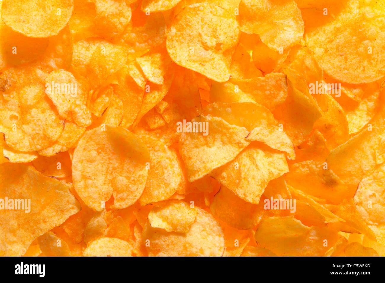 Potato Chips, full frame, close-up Immagini Stock