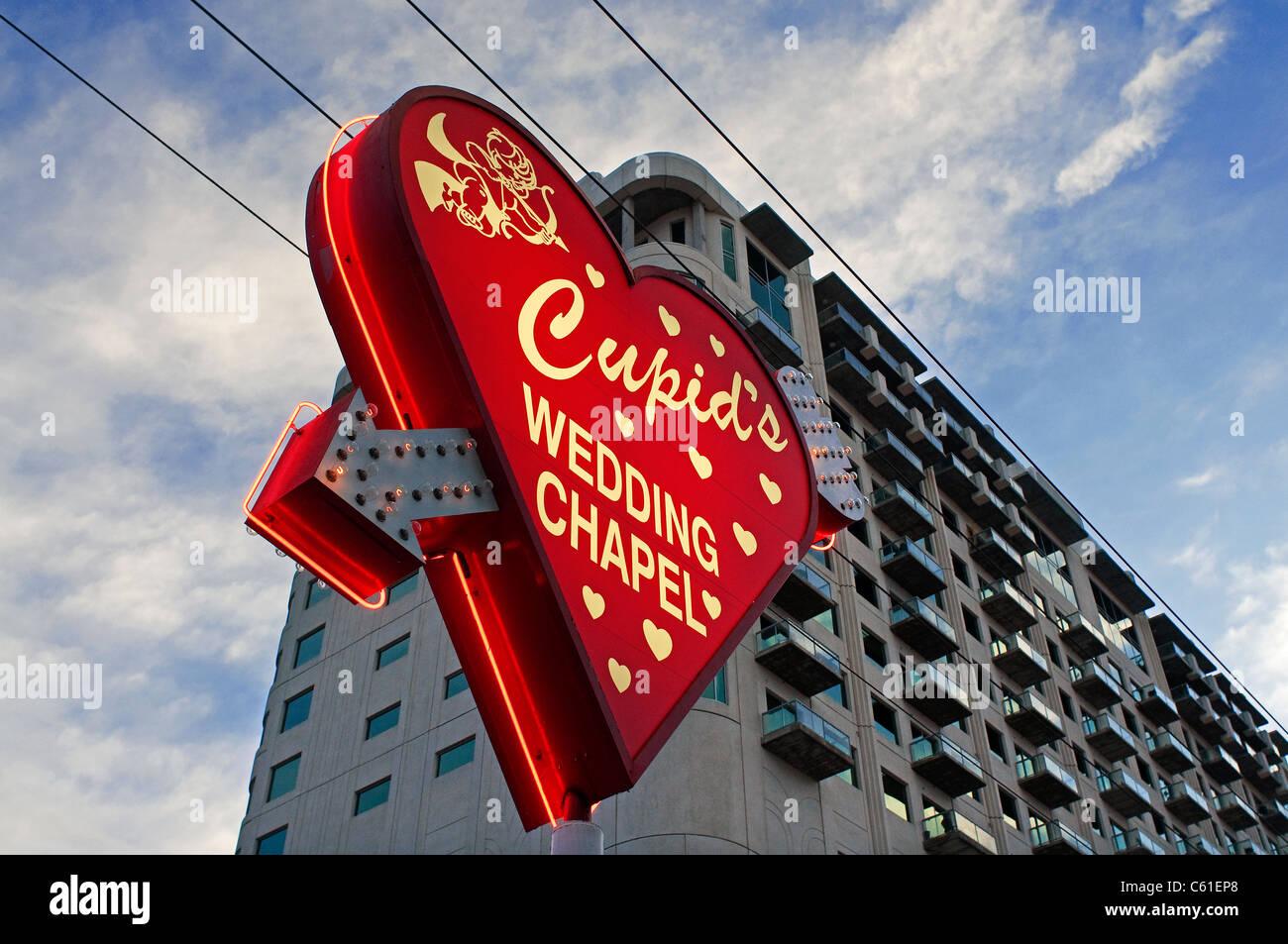 La cappella nuziale Amorini Las Vegas NV Nevada Immagini Stock