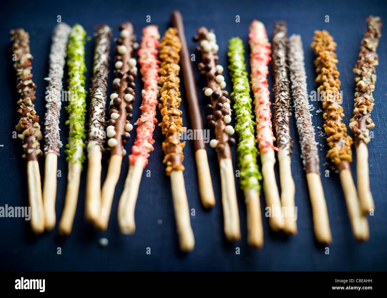 Diversi cioccolato aromatizzato Mikados Immagini Stock