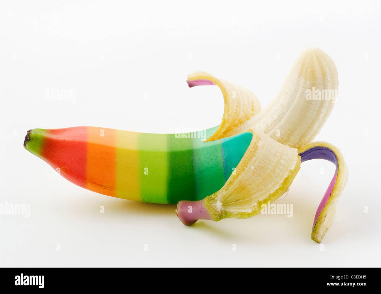 Banana multicolore Immagini Stock