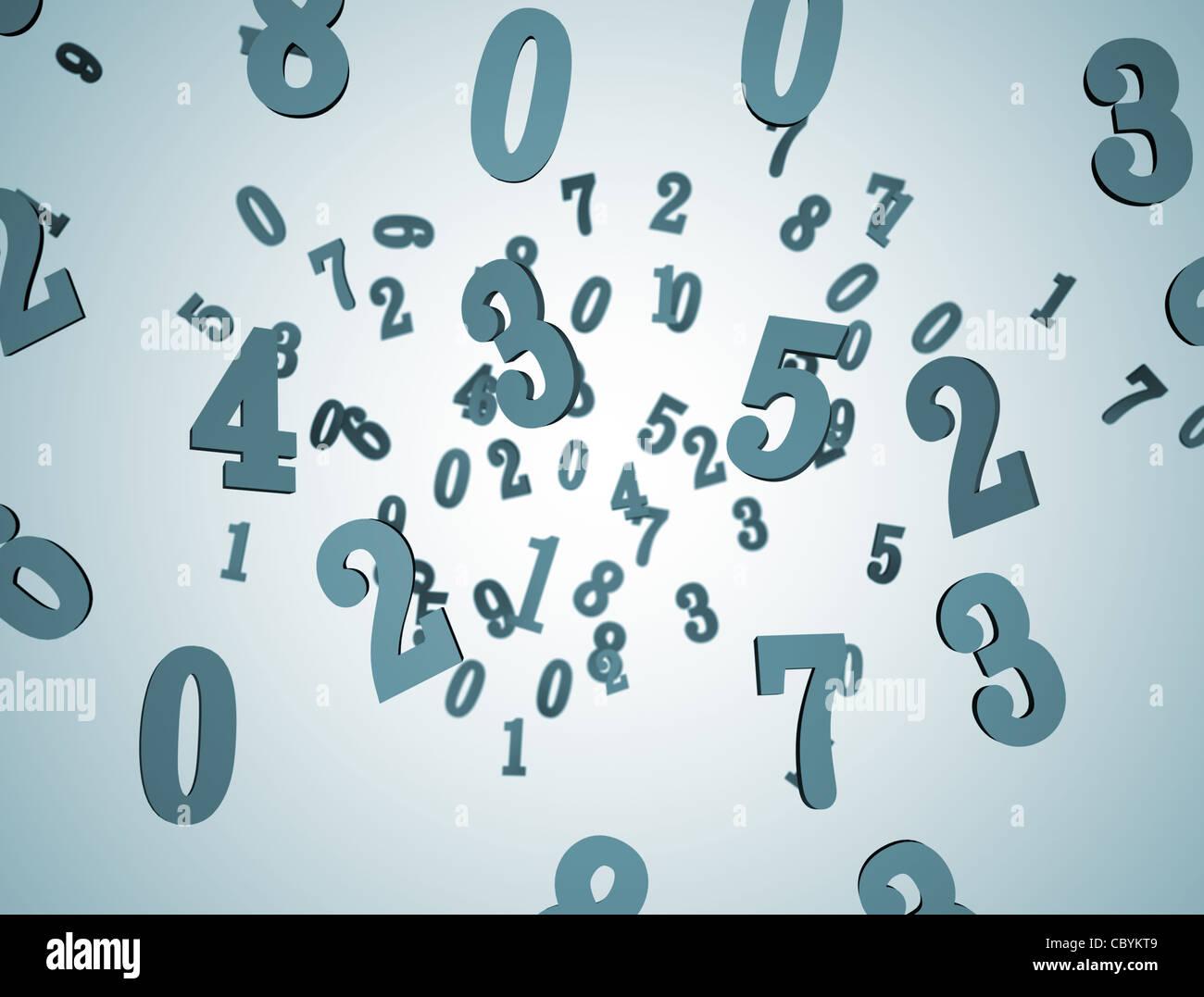 Sullo sfondo i numeri 3D Immagini Stock