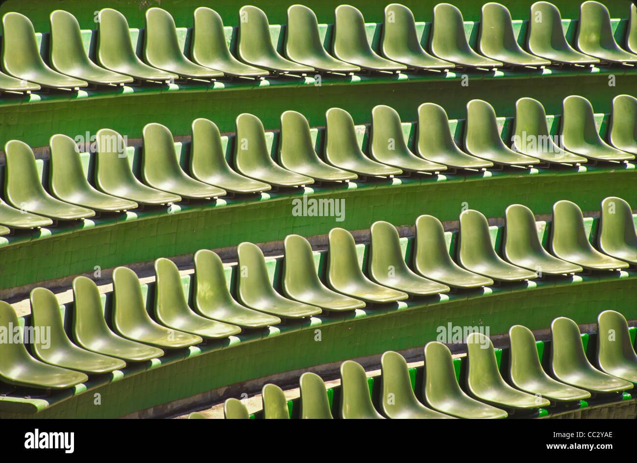 Messico, Guerrero, Ixtapa, file di sedili verde Immagini Stock