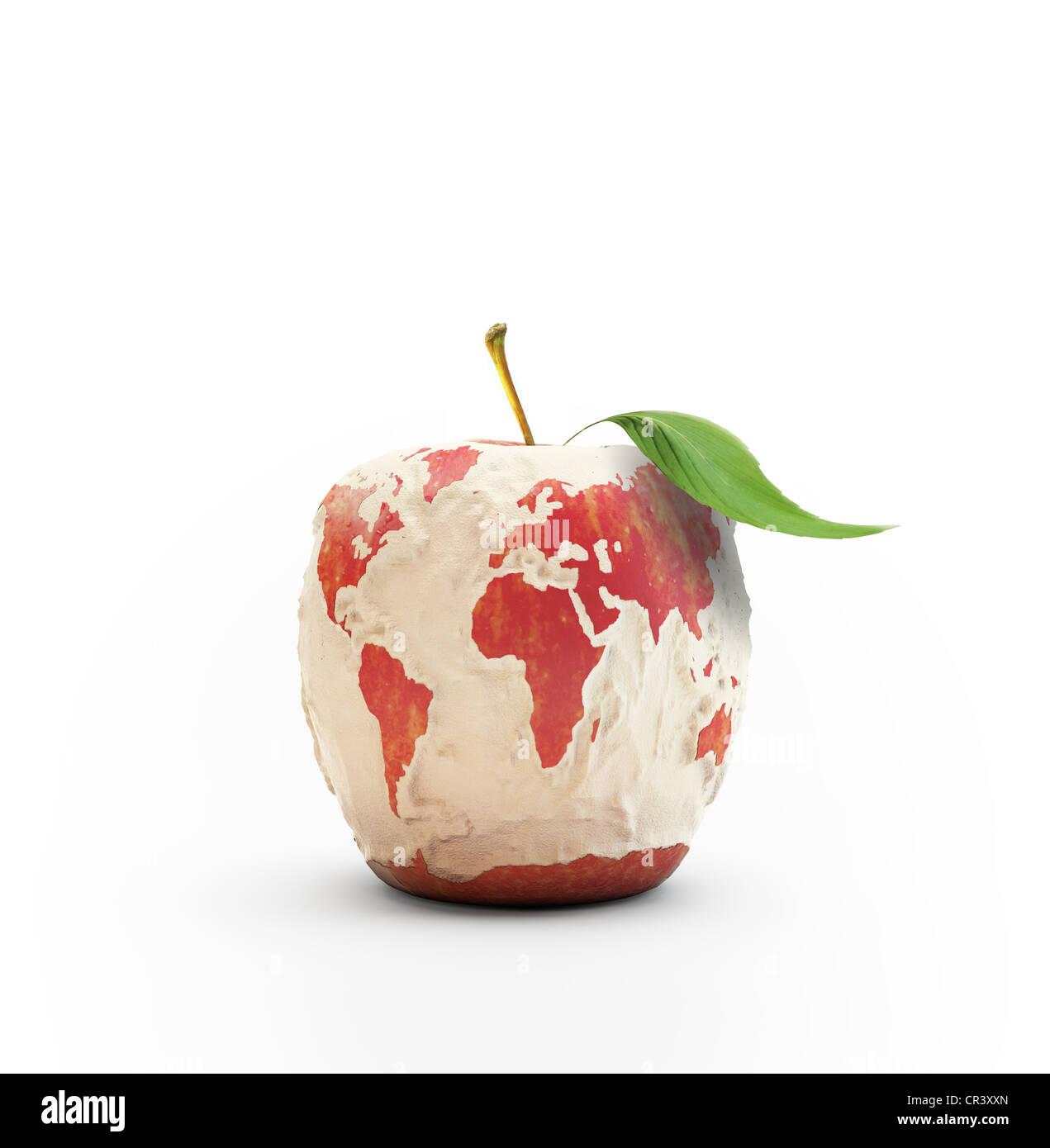 Mela sbucciata formante la mappa del mondo Immagini Stock