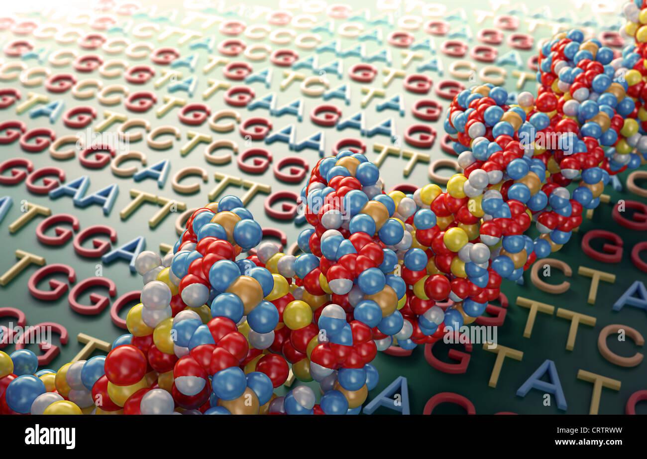 Il sequenziamento di DNA concetto illustrazione Immagini Stock