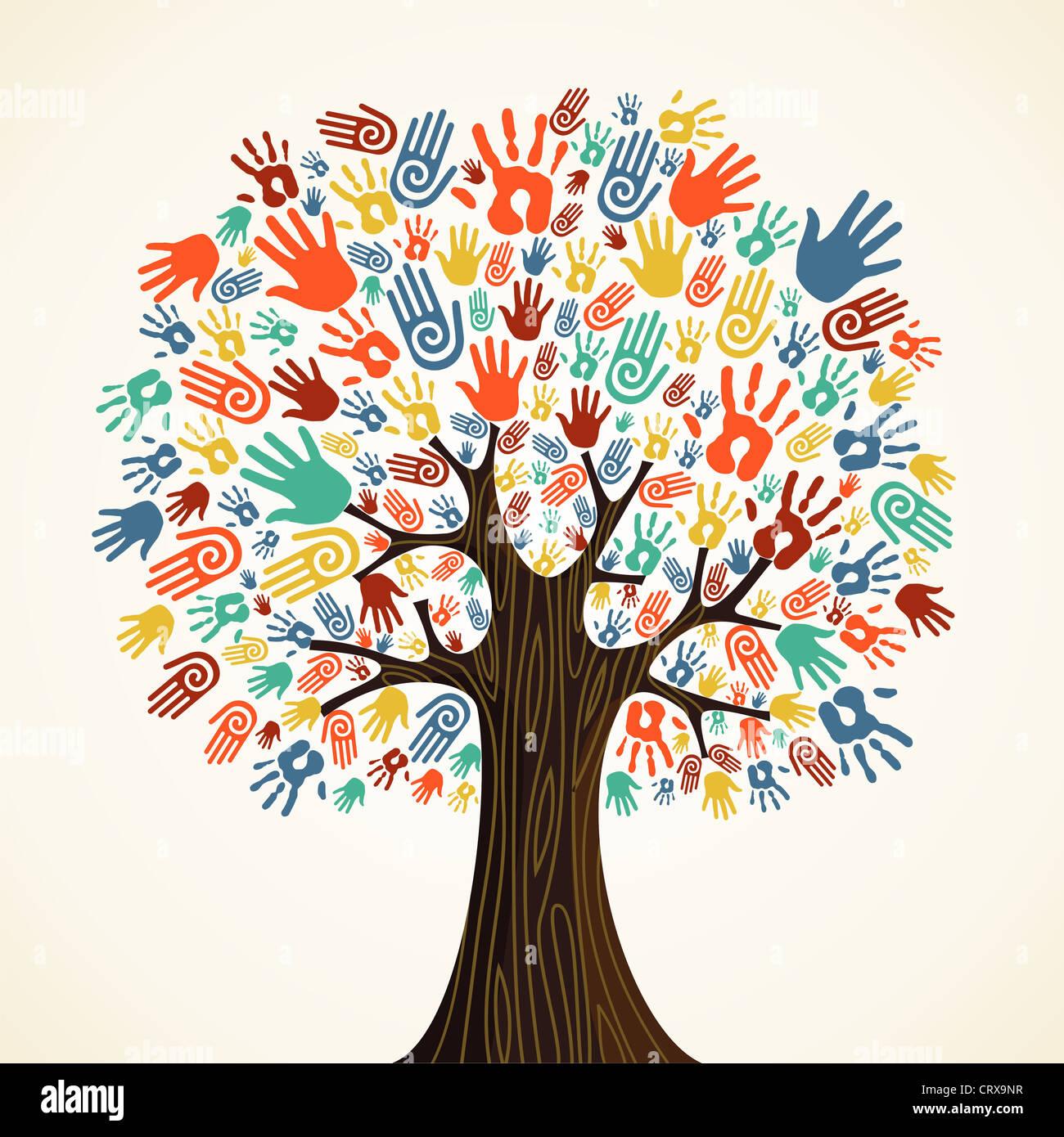 Diversità isolato mani ad albero illustrazione. File vettoriale stratificata per una facile manipolazione e Immagini Stock