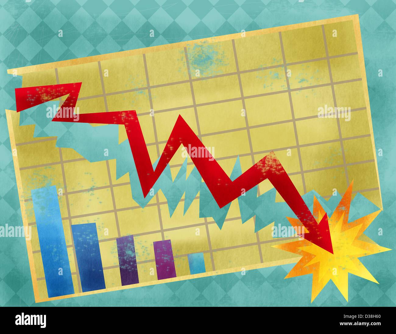 Grafico a linee che mostra il crash di economia Immagini Stock