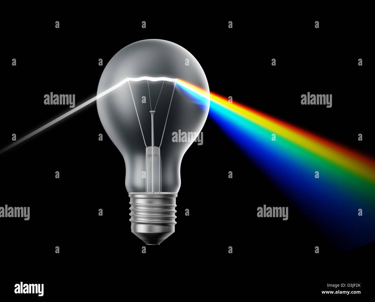 Creatività e innovazione concetto - lampadina agendo come un prisma Immagini Stock