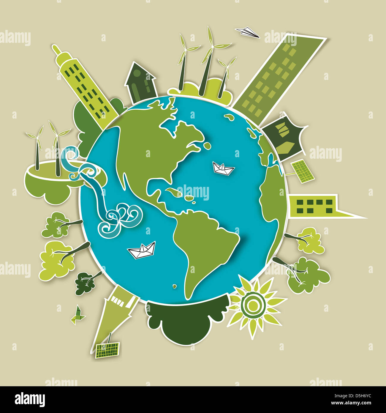 Go green concept mondo. L'industria lo sviluppo sostenibile con la conservazione ambientale Globe. Illustrazione Immagini Stock