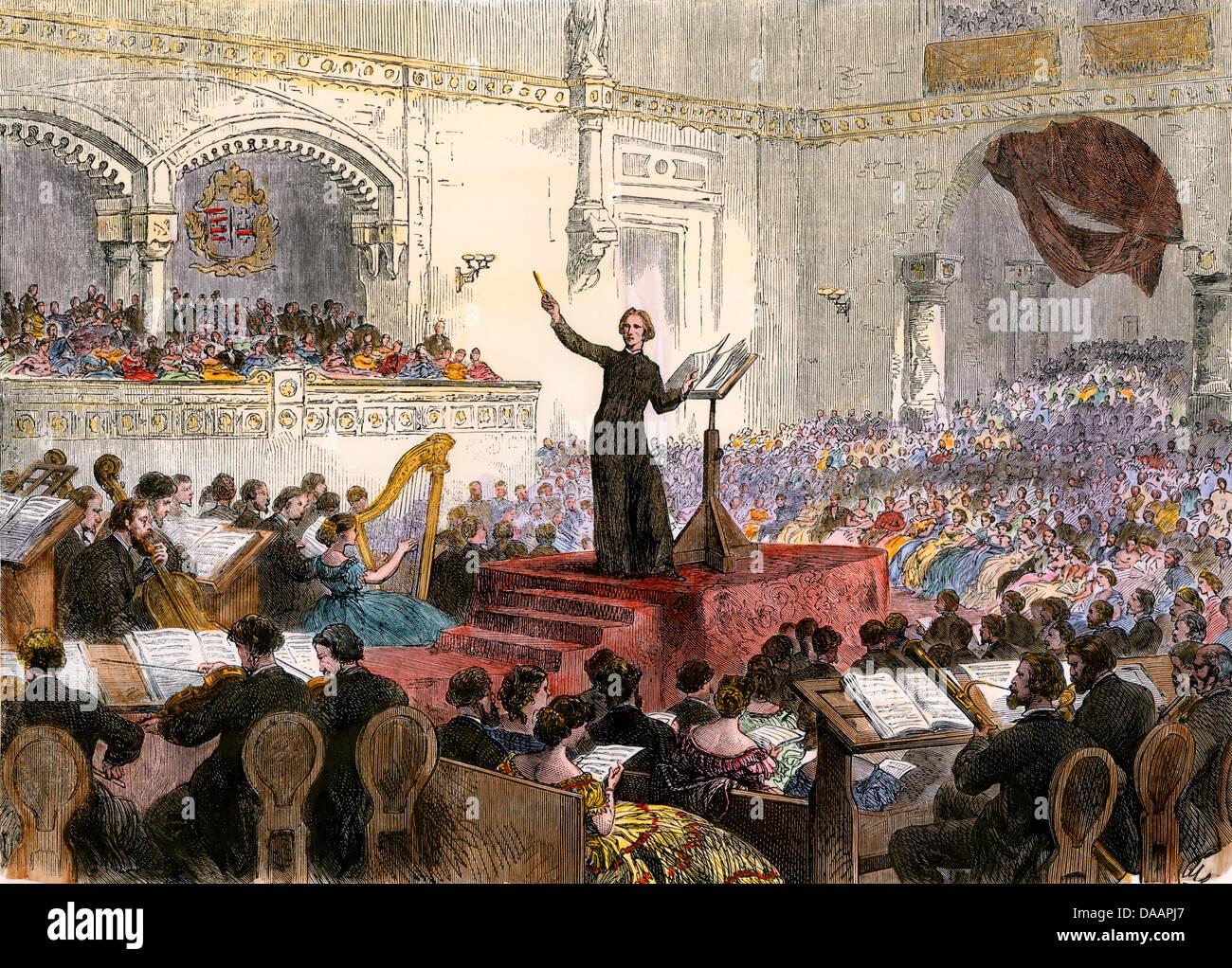Franzi Liszt conducendo il suo nuovo oratorio a Budapest, Ungheria, 1860s. Immagini Stock