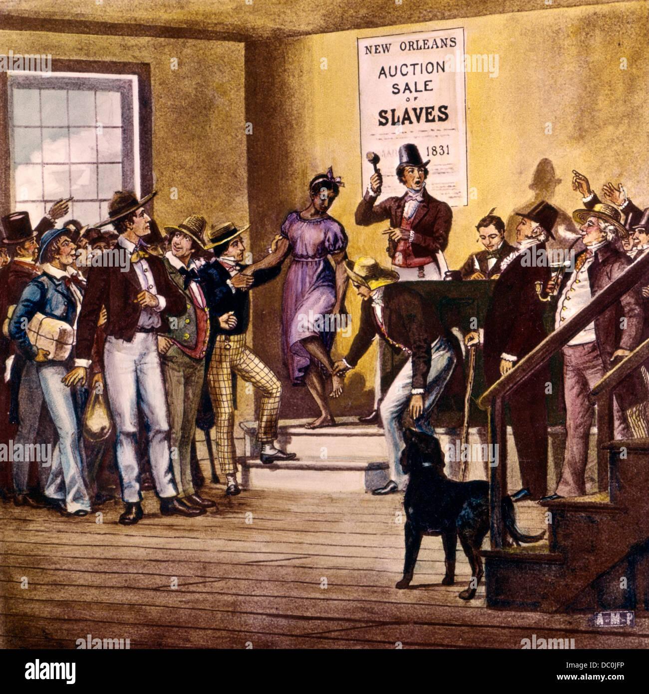 1830s 1831 ABRAHAM LINCOLN OSSERVANDO NEW ORLEANS mercato di schiavi VENDITA ALL'ASTA da colorate a mano vetro Immagini Stock